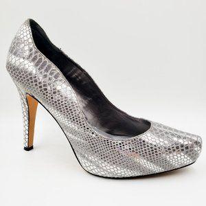 White House Black Market Metallic Snakeskin Heels
